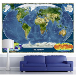 Uzaydan Dünya - Manzaralı Yapışkan Duvar Kağıdı