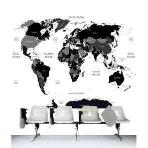 Siyah Beyaz Dünya - Resimli İthal Duvar Kağıtları