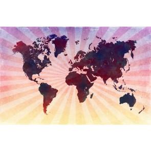 Retro Pembe Dünya Haritası
