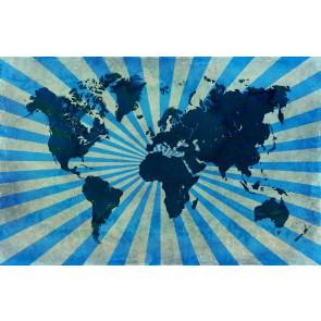 Retro Mavi Dünya Haritası