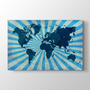 Retro Mavi Dünya Haritası - Ofis Kanvas Tablosu