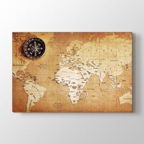 Eskitme Kağıt Dünya Haritası - Ofis Duvar Dekoru Kanvas Tablo