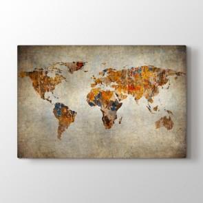 Sanatsal Dünya Haritası - Ofis Resimli Kanvas Tablo Modeli