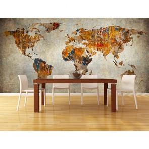 Sanatsal Dünya Haritası - Resimli Dekoratif Duvar Kağıdı