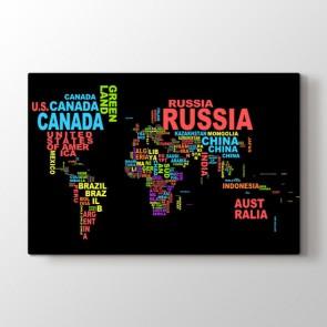 Renkli Tipografi Dünya Haritası Tablosu | Dünya Haritası Kanvas