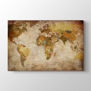 Tarz Dünya Haritası Tablosu - Kanvas Tablo