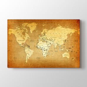 Eskitme Materyal Dünya Haritası Tablosu - Kanvas Tablo