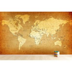 Eskitme Materyal Dünya Haritası 3 Boyutlu Duvar Kağıdı
