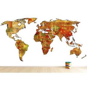 Bayraklardan Dekoratif Dünya 3 Boyutlu Duvar Kağıdı