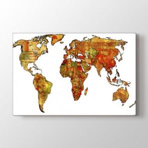 Bayraklardan Dekoratif Dünya Tablosu | Harita Kanvas Tablo