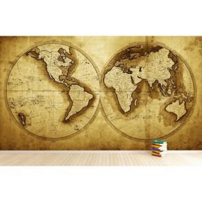 1711 Yılı Dünya Haritası 3 Boyutlu Duvar Kağıdı