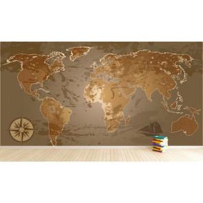Kahve Tonlarında Dünya Haritası 3 Boyutlu Dekoratif Duvar Kağıdı