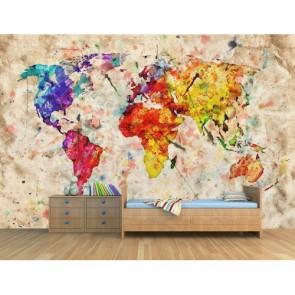 Eski Kağıtta Sulu Boya Dünya 3 Boyutlu Duvar Kağıdı