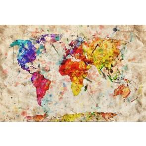 Eski Kağıtta Sulu Boya Dünya
