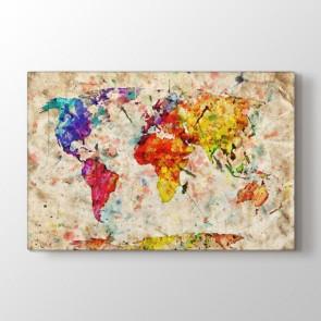 Eski Kağıtta Suluboya Dünya Tablosu | Dünya Haritası Kanvas