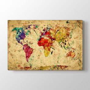 Bir Sanat Eseri Olarak Dünya Tablosu | Harita Kanvas Tablo