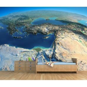Uzaydan Bakınca Türkiye 3 Boyutlu Harita Duvar Kağıdı