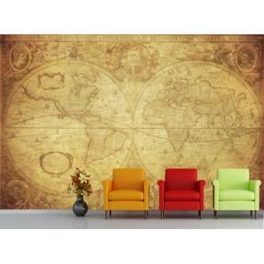 1630 Yılı Dünya Haritası 3 Boyutlu Duvar Kağıdı