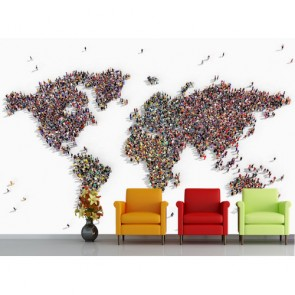 İnsanlar Birleşince Dünya 3 Boyutlu Harita Duvar Kağıdı