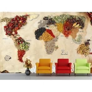 Kuruyemiş ve Baharatlardan Dünya 3 Boyutlu Duvar Kağıdı