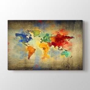 Keçeli Kalem Dünyası Tablosu | Dünya Haritası Kanvas
