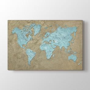 Mavi Dünya Tablosu | Dünya Haritası Tabloları