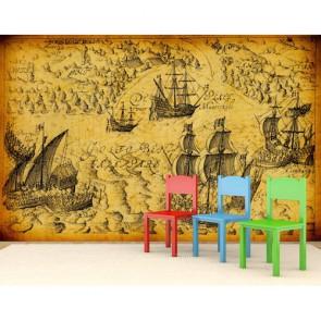 Tarihi Korsan Gemileri 3 Boyutlu Duvar Kağıdı