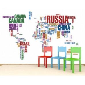 Yazıyla Dünya Haritası 3 Boyutlu Duvar Kağıdı