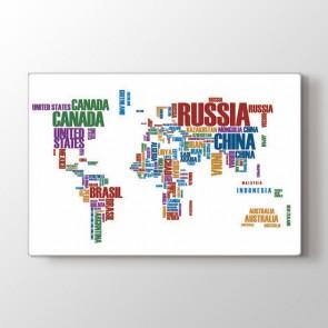 Yazıyla Dünya Haritası Tablosu | Dünya Haritası Tablosu