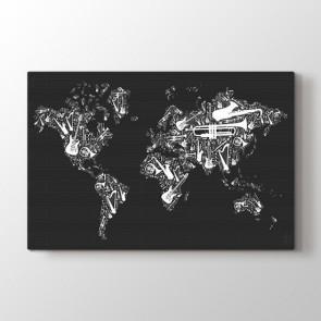 Müzik Enstrümanlarından Dünya Haritası Tablosu | Dünya Haritası Kanvas