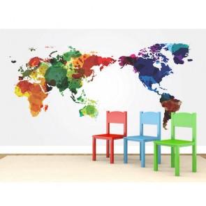 Suluboya Dünya Haritası 3 Boyutlu Duvar Kağıdı