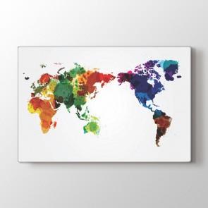 Suluboya Dünya Haritası Tablosu | Harita Kanvas Tablo