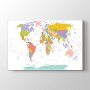 Şehir Detaylı Dünya Haritası Tablosu - Kanvas Tablo