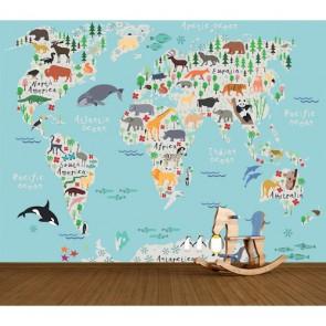 Hayvanların Dağılımı Dünya Haritası 3 Boyutlu Duvar Kağıdı