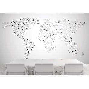 Global Network Dünya Haritası 3 Boyutlu Duvar Kağıdı