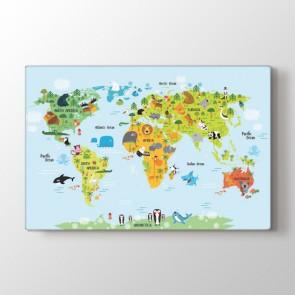 Hayvanlar Alemi Dünya Haritası Tablosu | Dünya Haritası Kanvas