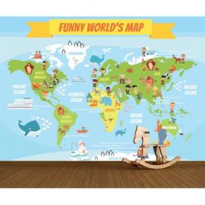 Eğlenceli Dünya Haritası 3 Boyutlu Duvar Kağıdı