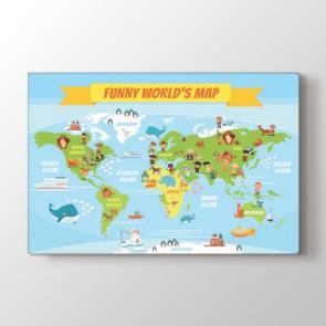 Eğlenceli Dünya Haritası Tablosu | Harita Kanvas Tablo