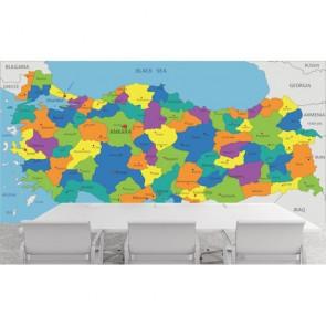 Koyu Tonlarda Türkiye Haritası 3 Boyutlu Duvar Kağıdı