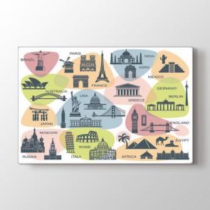 Dünya Turizm Klasikleri Tablosu | Dünya Haritası Tabloları