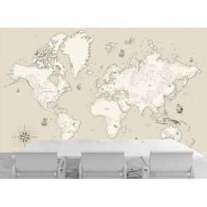 Küçük Detaylı Kıtalar Atlası 3 Boyutlu Duvar Kağıdı