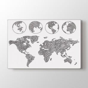 Dünya Dört Dönüyor Tablosu | Harita Tablo