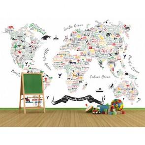 İnce Detaylarla Dünya 3 Boyutlu Duvar Kağıdı