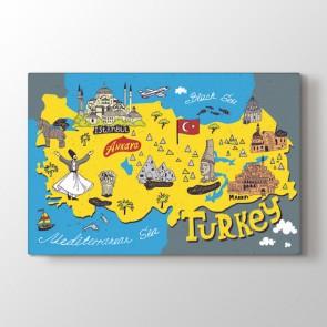 Türkiye Turistik Simgeler Haritası Tablosu | Dünya Haritası Tablosu