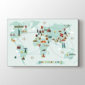 Balonla Dünya Turu Haritası Tablosu | Dünya Haritası Kanvas