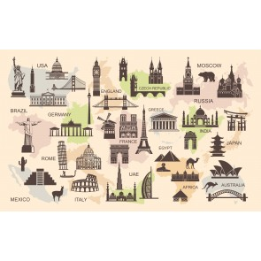 Dünyadaki Mimari İkonlar 3 Boyutlu Duvar Kağıdı