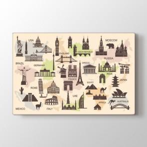 Dünyadaki Mimari İkonlar Tablosu | Harita Kanvas Tablo