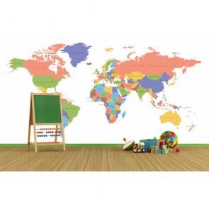 Oval Sınırlı Dünya Haritası 3 Boyutlu Duvar Kağıdı