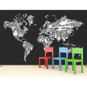 Müzik Enstrümanlarından Dünya Haritası 3 Boyutlu Duvar Kağıdı Uygulama