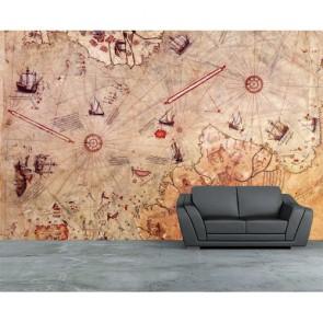 Piri Reis Haritası 3 Boyutlu Resimli Duvar Kağıdı